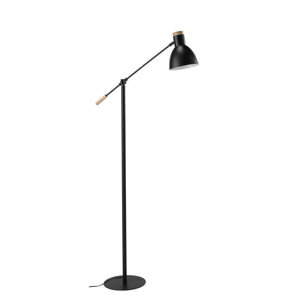 L mpara de pie orientable de metal y madera negra al 151 - Lamparas de pie maison du monde ...