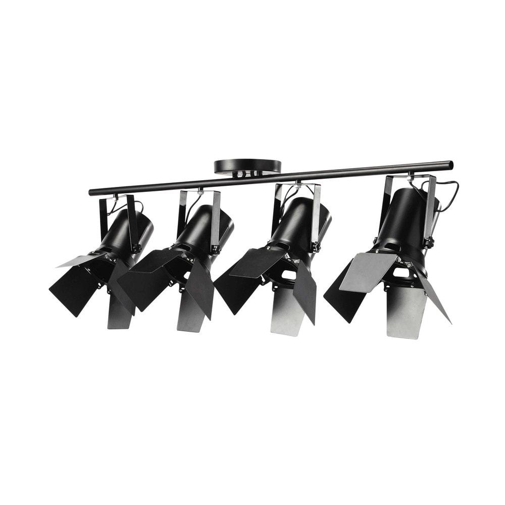 L mpara de techo 4 focos orientables de metal negro an for Lamparas de focos