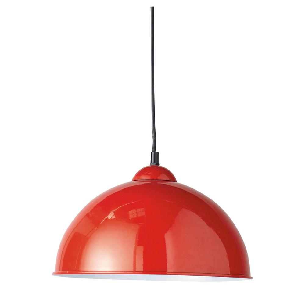 L mpara de techo de metal bristol roja maisons du monde - Lampara de techo roja ...