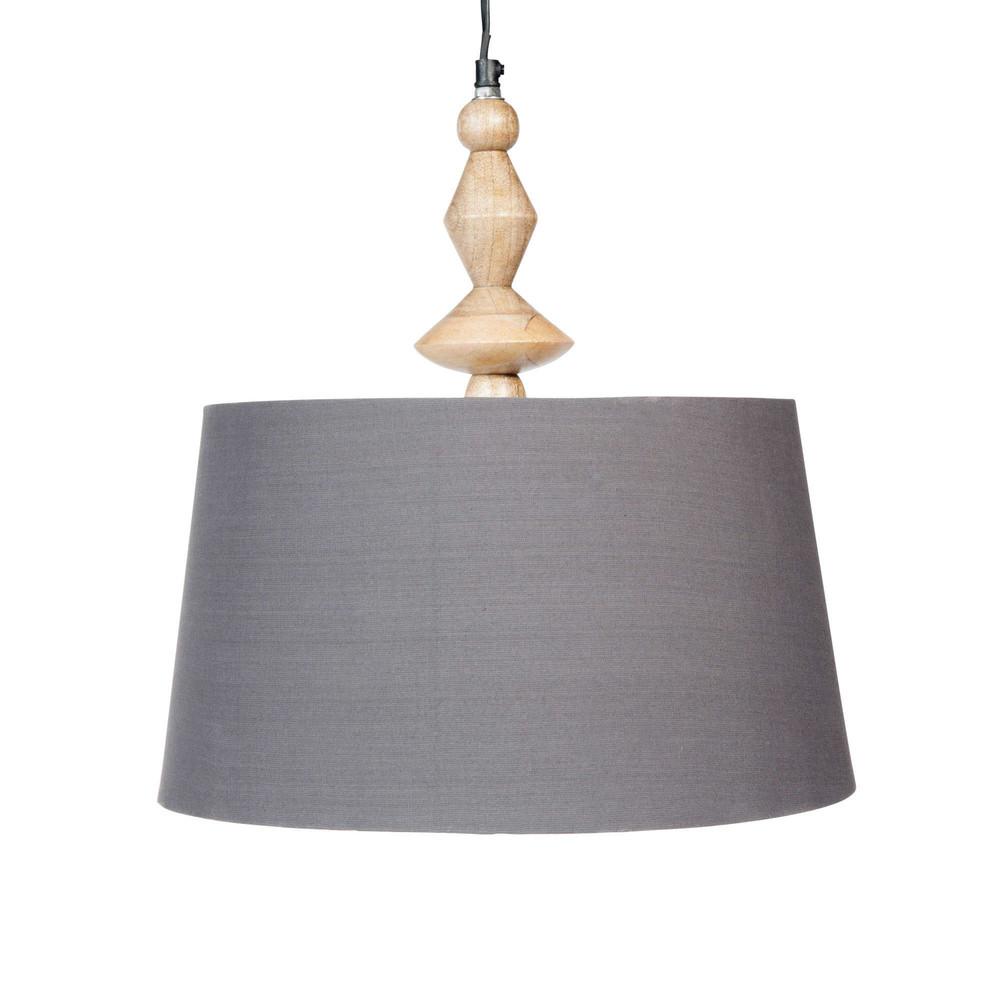 L mpara de techo de tela gris d 36 cm alisha maisons du for Maison du monde lamparas de mesa