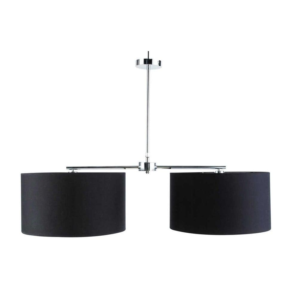 L mpara de techo doble negra de metal y tela l 45 cm soft - Lamparas de tela para techo ...