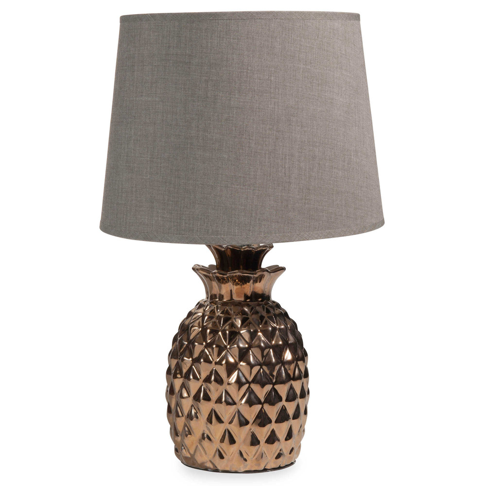 lampe ananas en c ramique dor e h 43 cm milord maisons. Black Bedroom Furniture Sets. Home Design Ideas