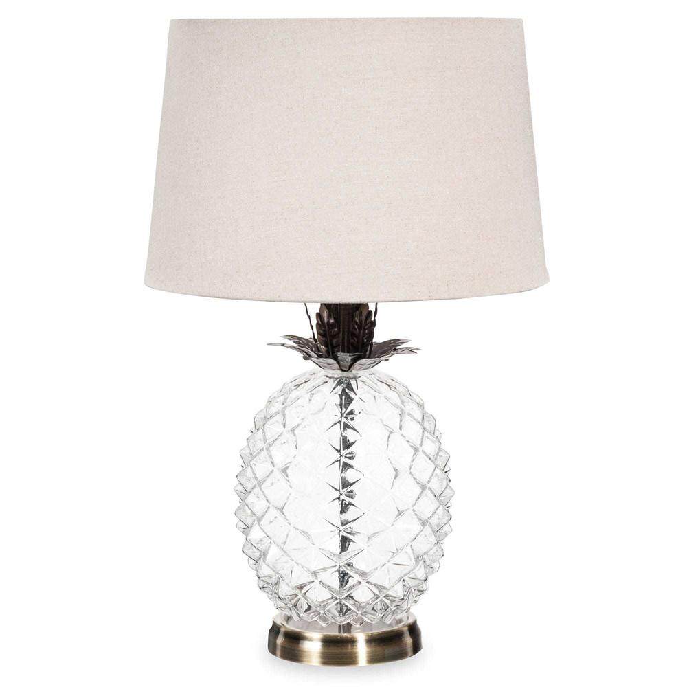 Lampe ananas en verre abat jour beige malp maisons du monde - Lampe bouddha maison du monde ...
