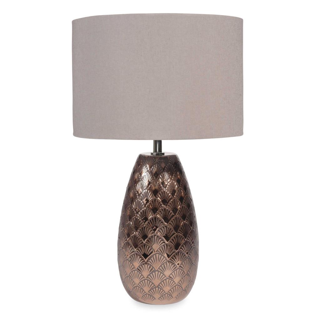lampe aus keramik kupferfarben h 45 cm graziella maisons. Black Bedroom Furniture Sets. Home Design Ideas