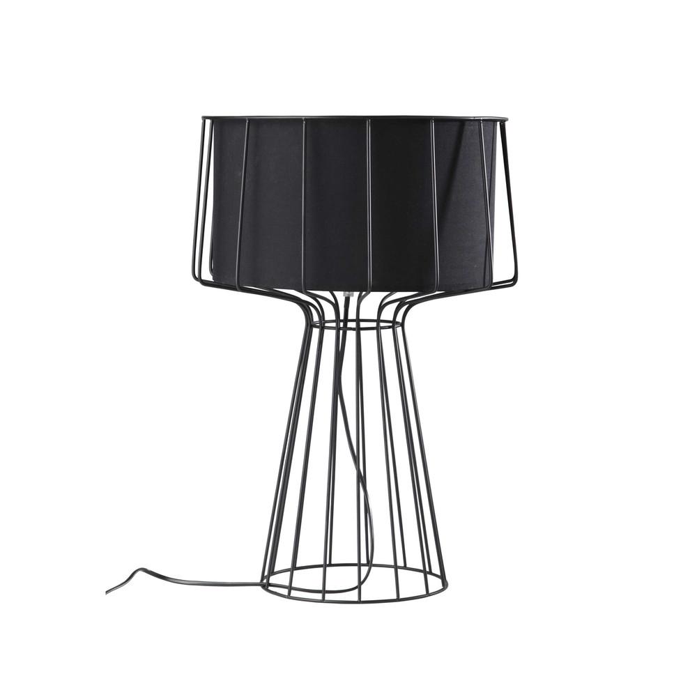 lampe aus metall mit lampenschirm aus schwarzer baumwolle h 53 cm pulse maisons du monde. Black Bedroom Furniture Sets. Home Design Ideas