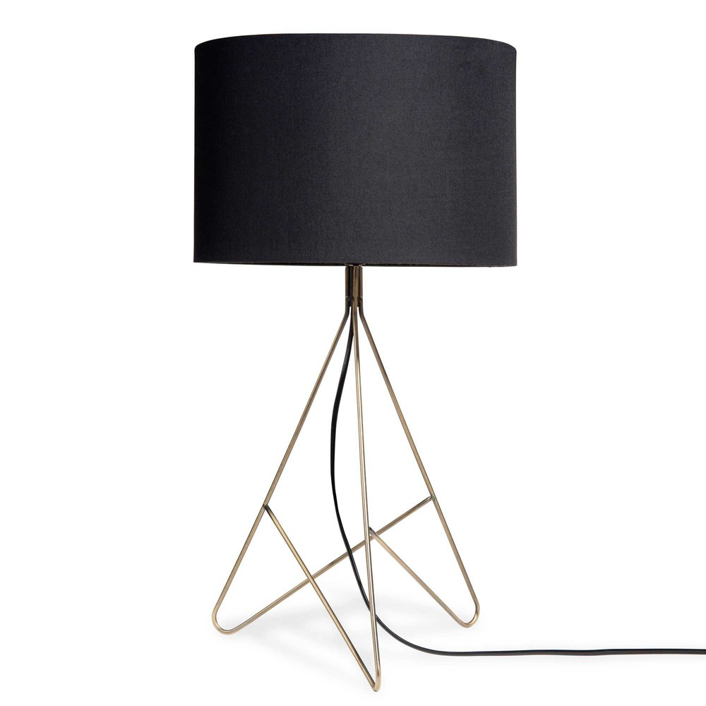 lampe aus metall mit schwarzem lampenschirm h 56 cm jaffna maisons du monde. Black Bedroom Furniture Sets. Home Design Ideas