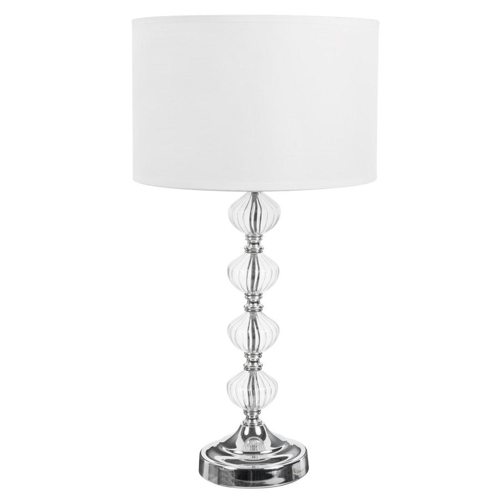 lampe avec pied en verre et abat jour en tissu blanc h 53. Black Bedroom Furniture Sets. Home Design Ideas