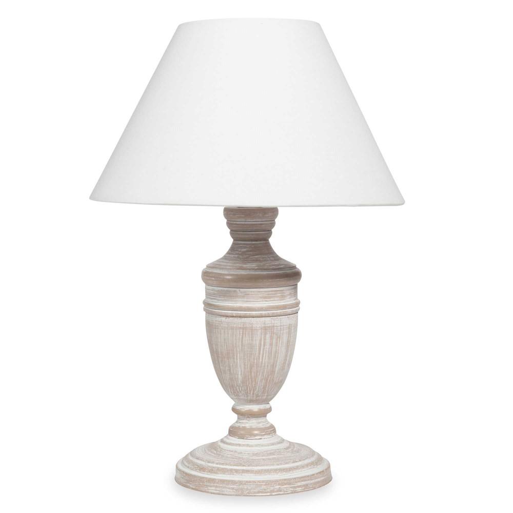 Lampe blanchie abat jour blanc denise maisons du monde for Lampe de chevet romantique