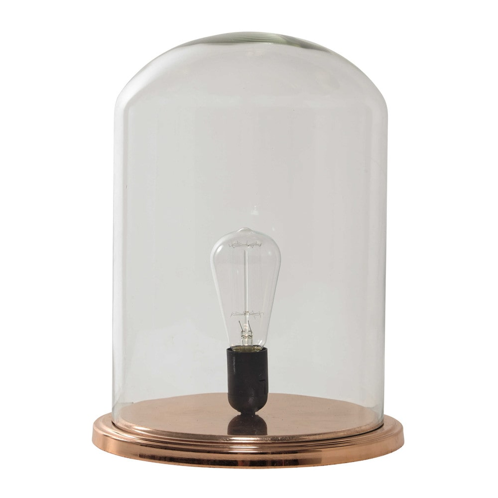 lampe cloche en verre et m tal cuivr h 38 cm glantine maisons du monde. Black Bedroom Furniture Sets. Home Design Ideas
