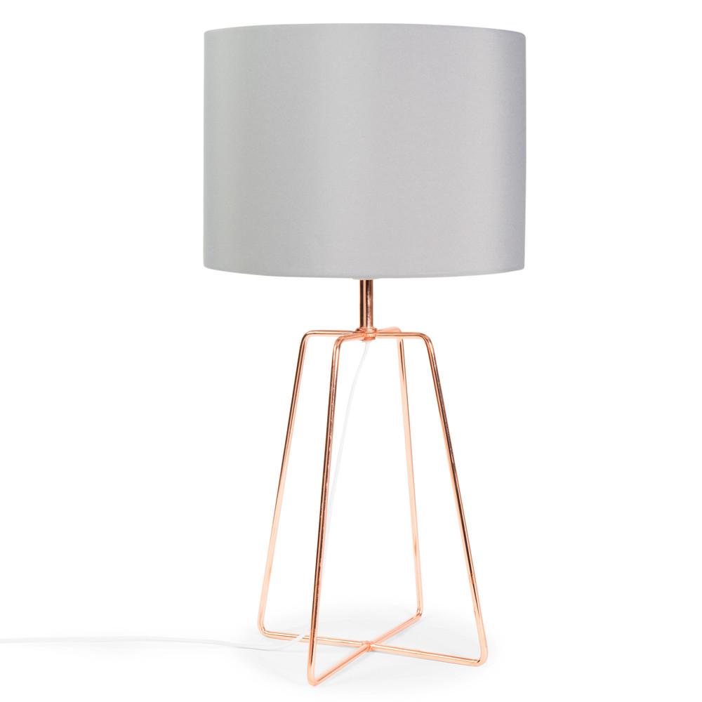 lampe crossy copper aus metall mit lampenschirm aus grauem stoff h 49 cm kupferfarben. Black Bedroom Furniture Sets. Home Design Ideas