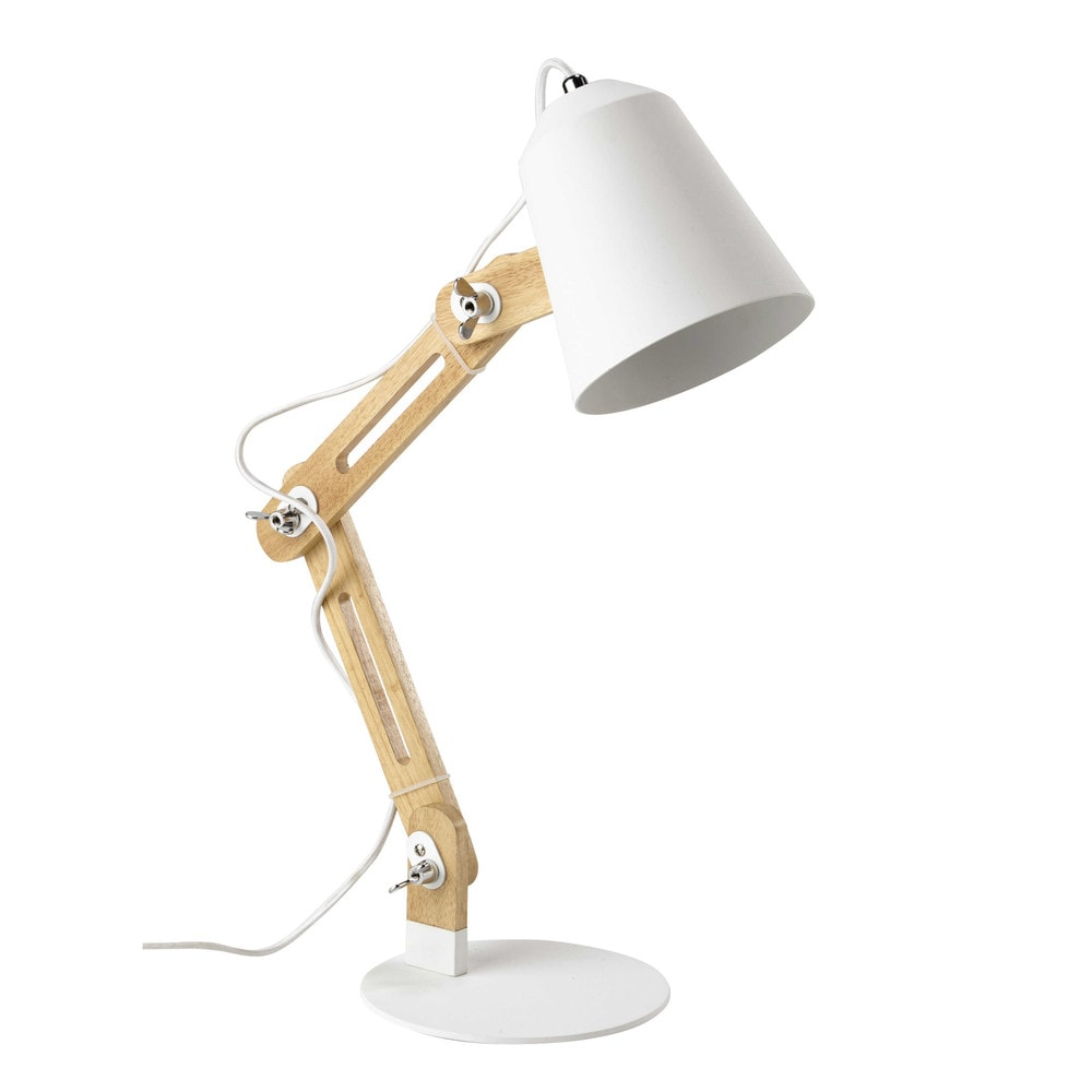 lampe de bureau en bois et m tal blanc h 64 cm sweden maisons du monde. Black Bedroom Furniture Sets. Home Design Ideas