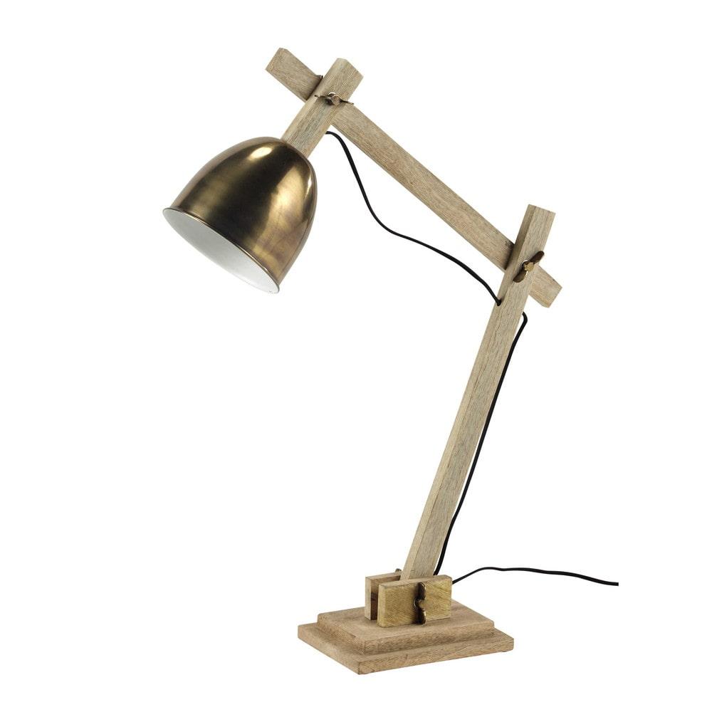 Lampe de bureau en bois et m tal h 73 cm forest maisons for Lampe de bureau fille