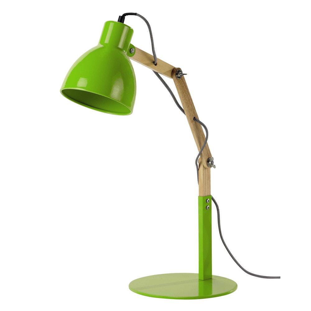 Lampe de bureau en bois et m tal vert h 57 cm market for Lampe de bureau verte