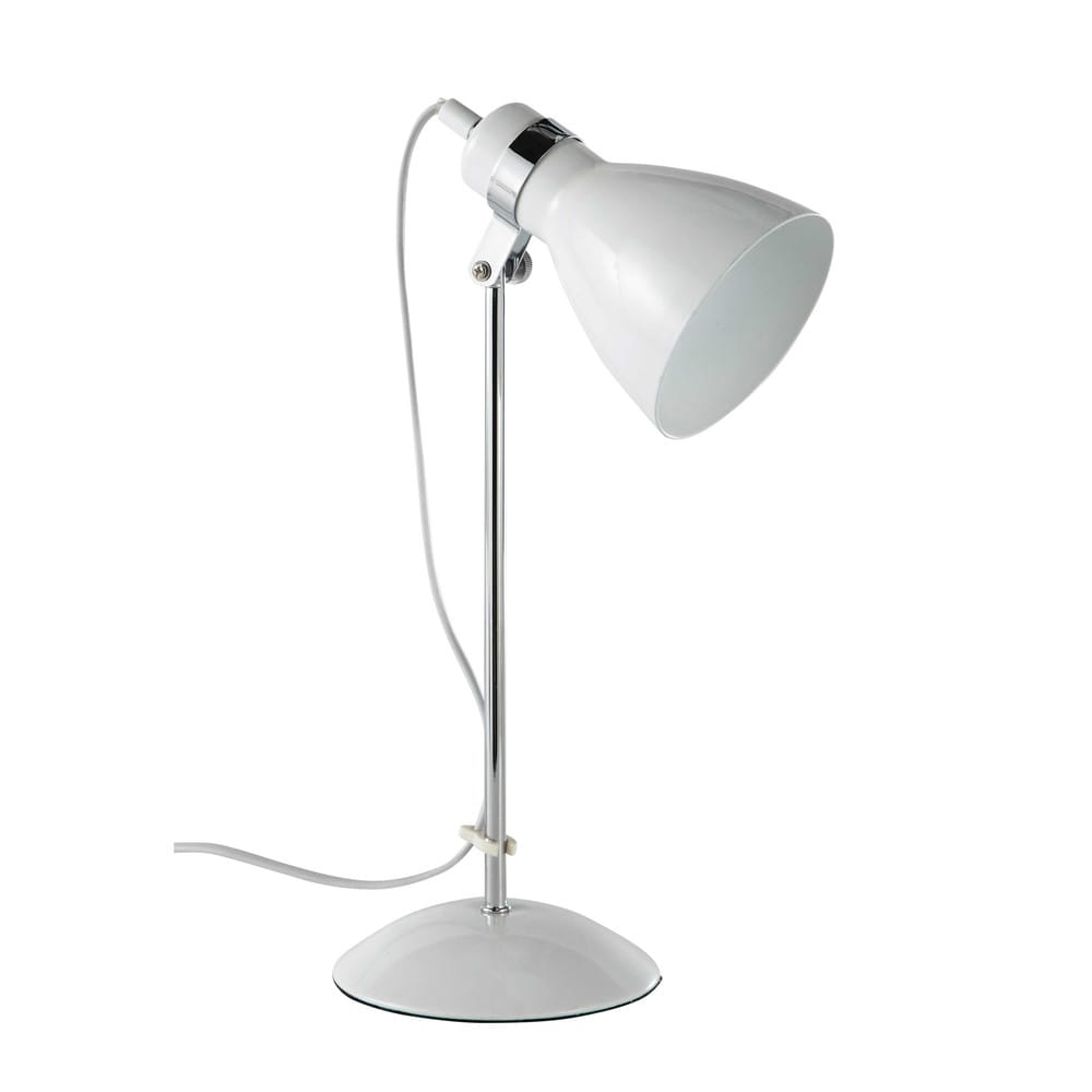 lampe de bureau en m tal blanche h 38 cm pix maisons du monde. Black Bedroom Furniture Sets. Home Design Ideas
