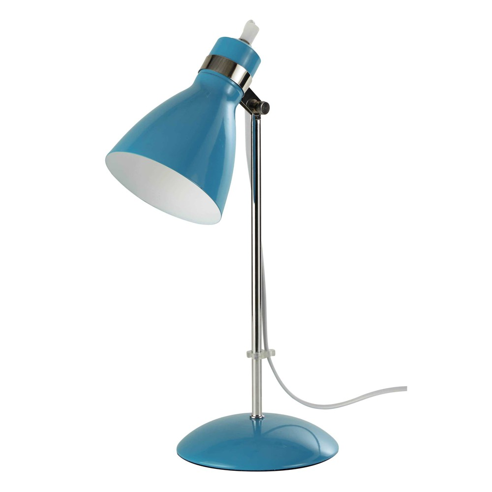 lampe de bureau en m tal bleu h 38 cm pix maisons du monde. Black Bedroom Furniture Sets. Home Design Ideas
