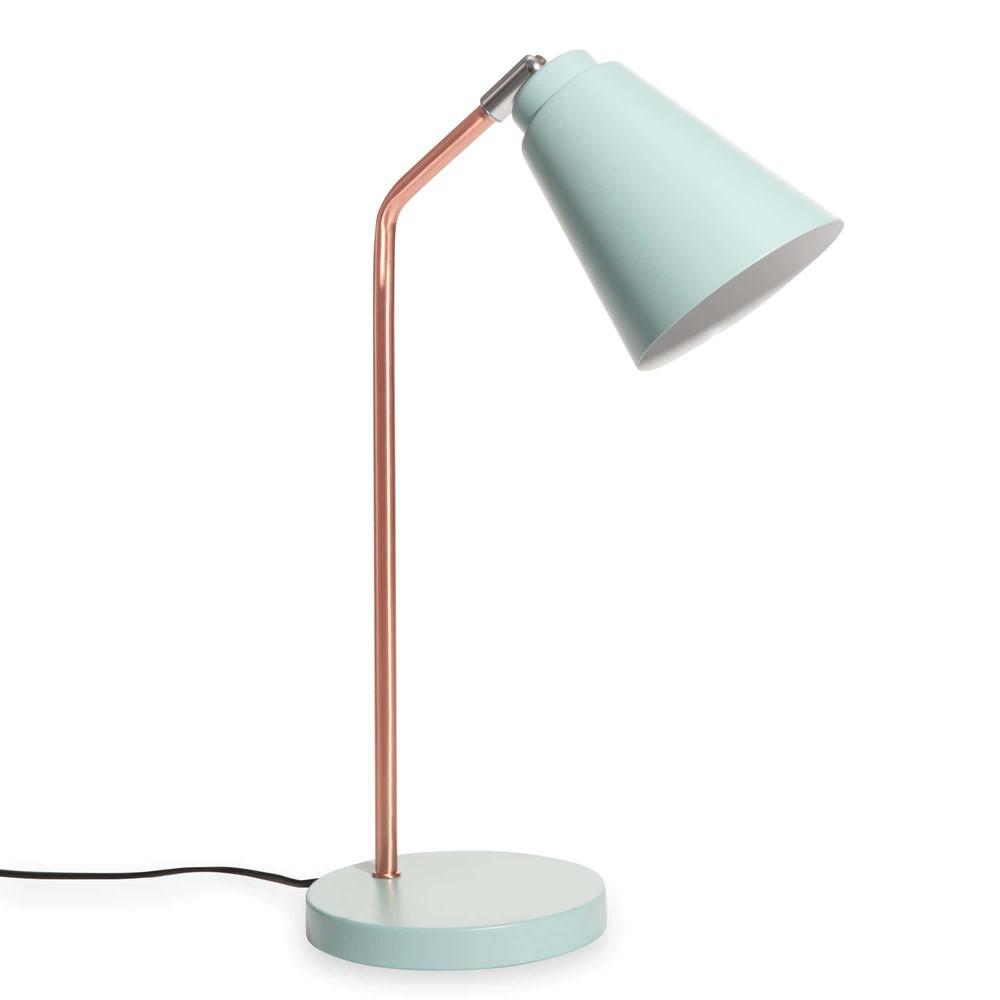 lampe de bureau en m tal cuivr et bleu clair jessie. Black Bedroom Furniture Sets. Home Design Ideas