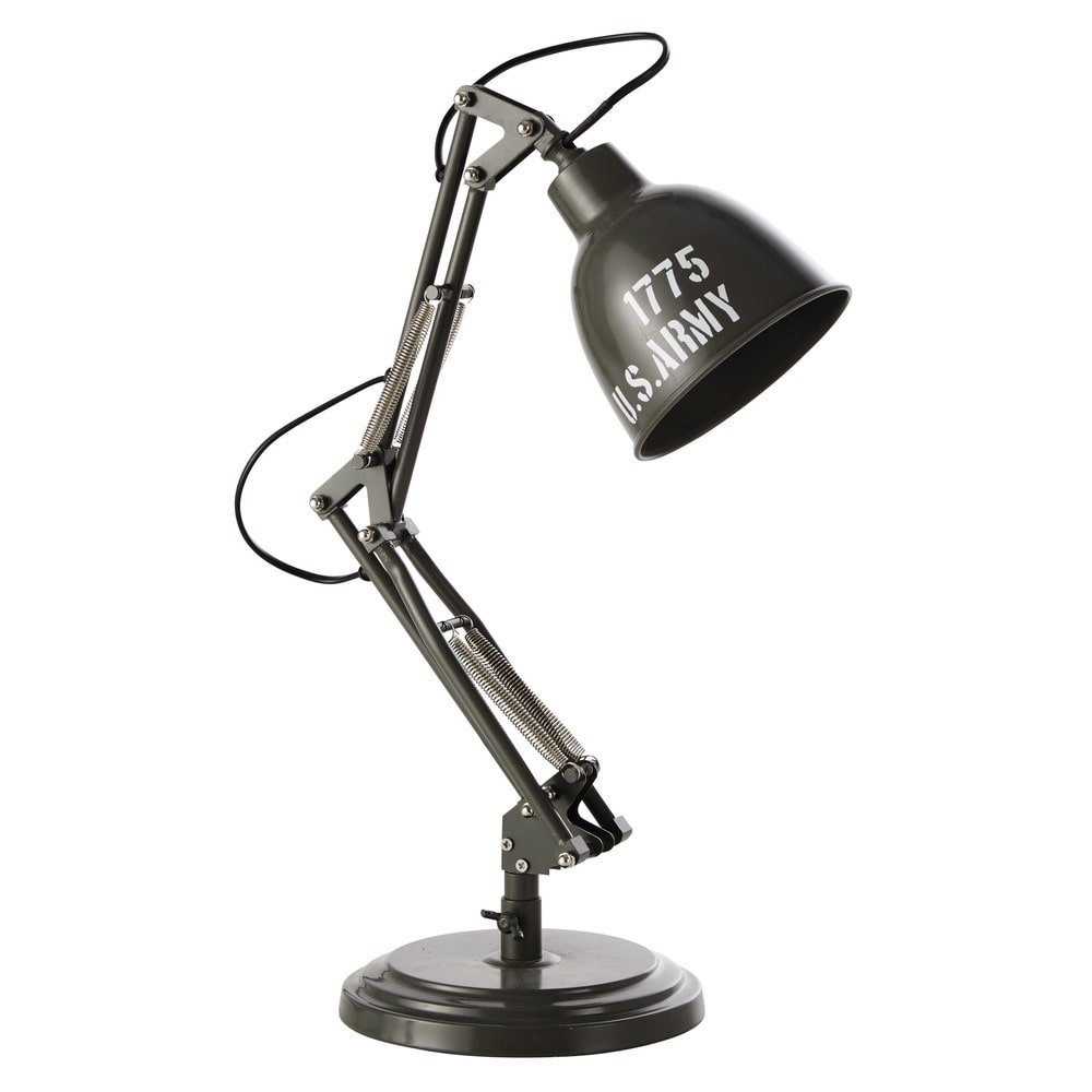 Lampe de bureau en m tal vert h 46 cm paterson army for Lampe de bureau maison du monde
