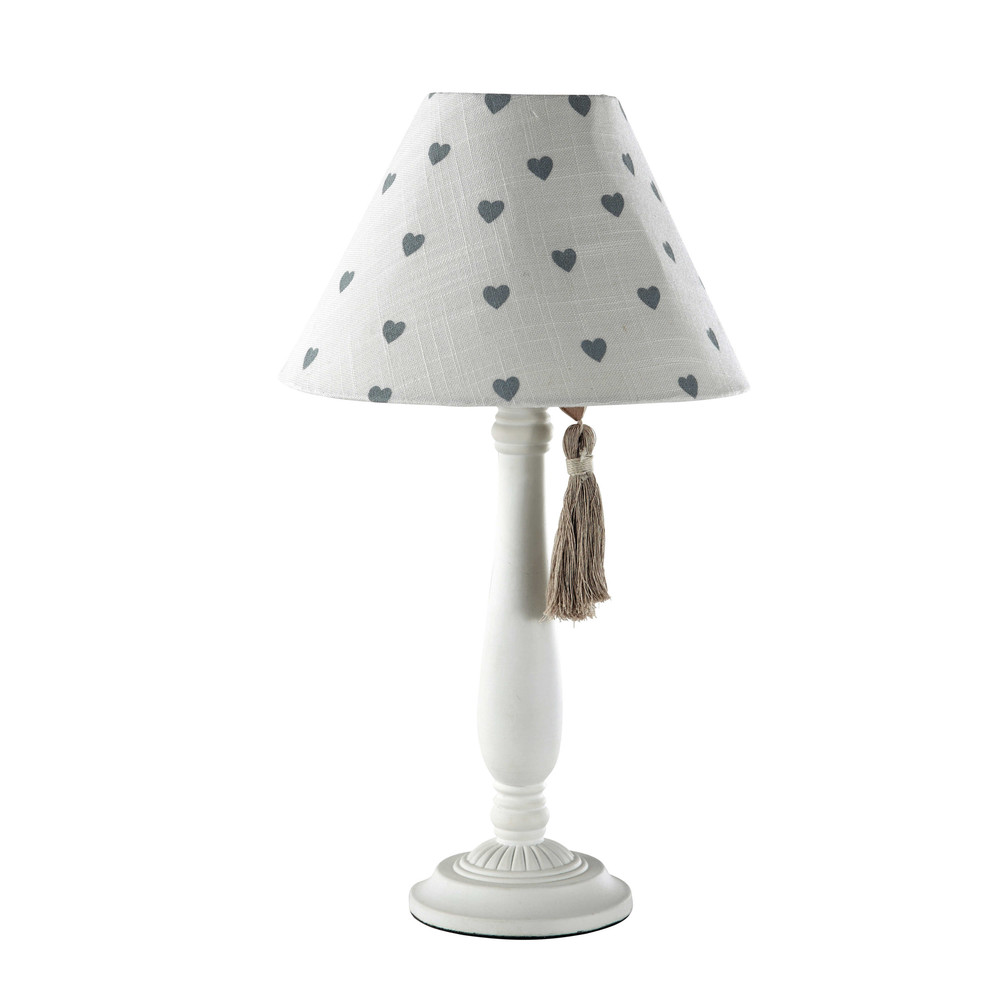 Lampe de chevet abat jour coton blanc h 45 cm gabrielle for Abat jour lampe de chevet