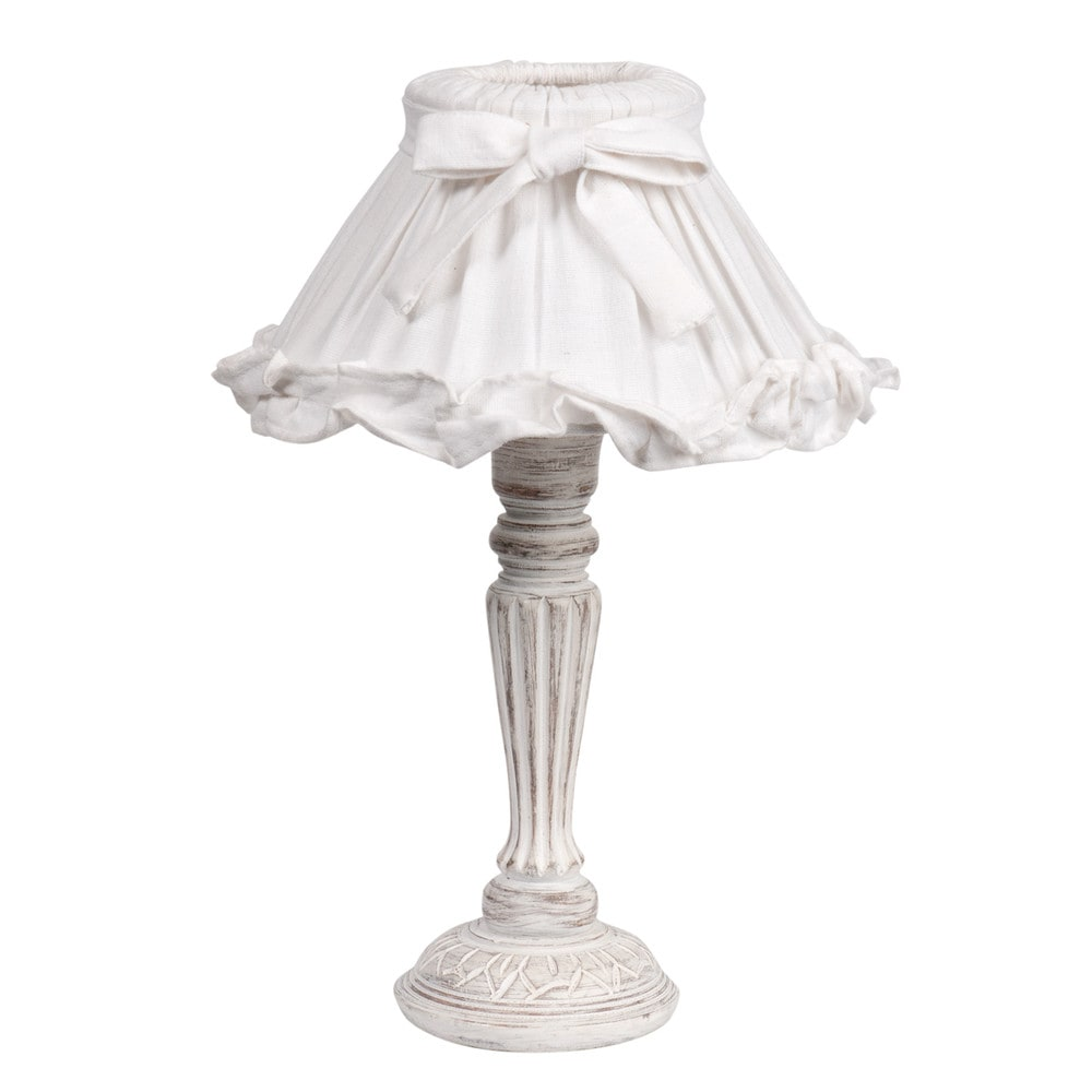 lampe de chevet blanche abat jour volant en tissu h 38 cm sonnet maisons du monde. Black Bedroom Furniture Sets. Home Design Ideas