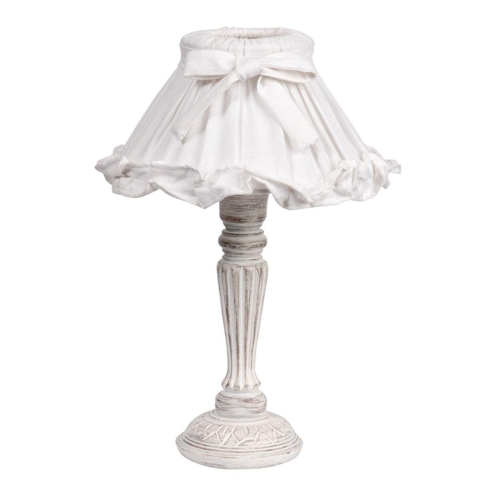Lampe de chevet bois et abat jour en tissu blanche h 38 cm for Abat jour lampe de chevet