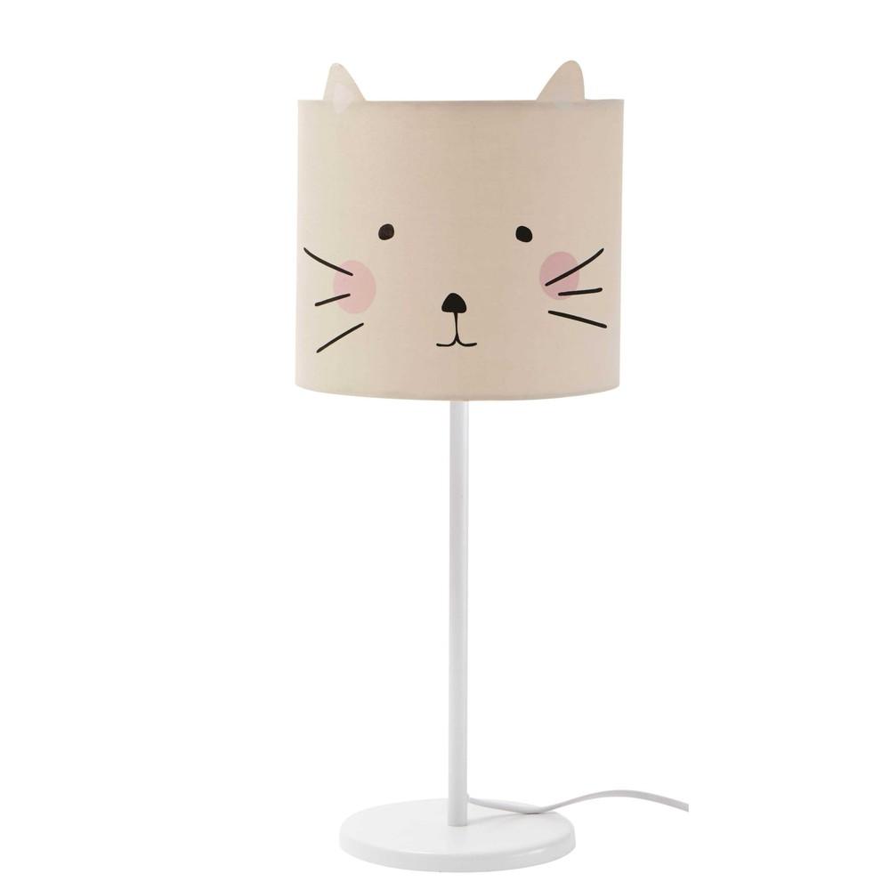 Lampe de chevet en m tal blanc h 49 cm mina maisons du monde - Lampe de chevet blanc ...