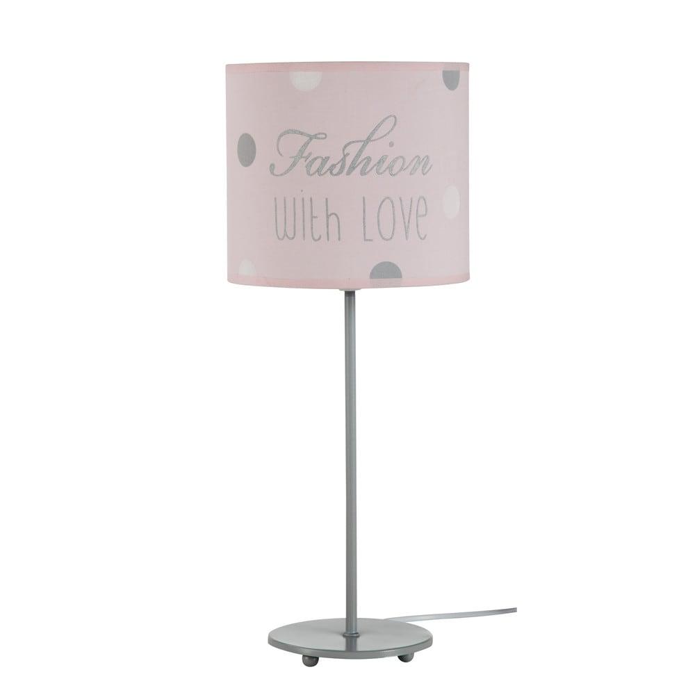 Lampe de chevet en m tal grise et abat jour coton rose h 49 cm blush maison - Lampe de chevet grise ...