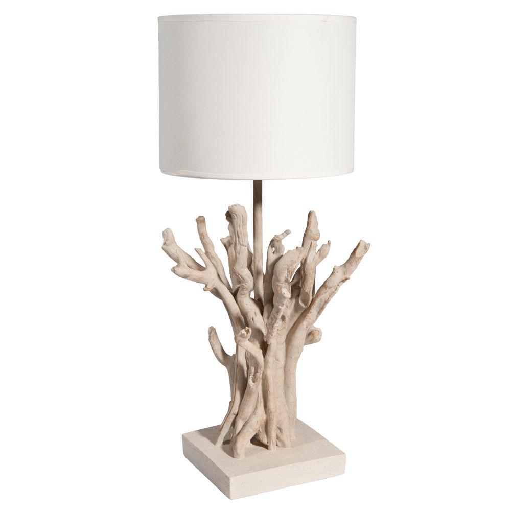 Lampe De Chevet En Polyresine Et Abat Jour En Toile H 48 Cm Saint