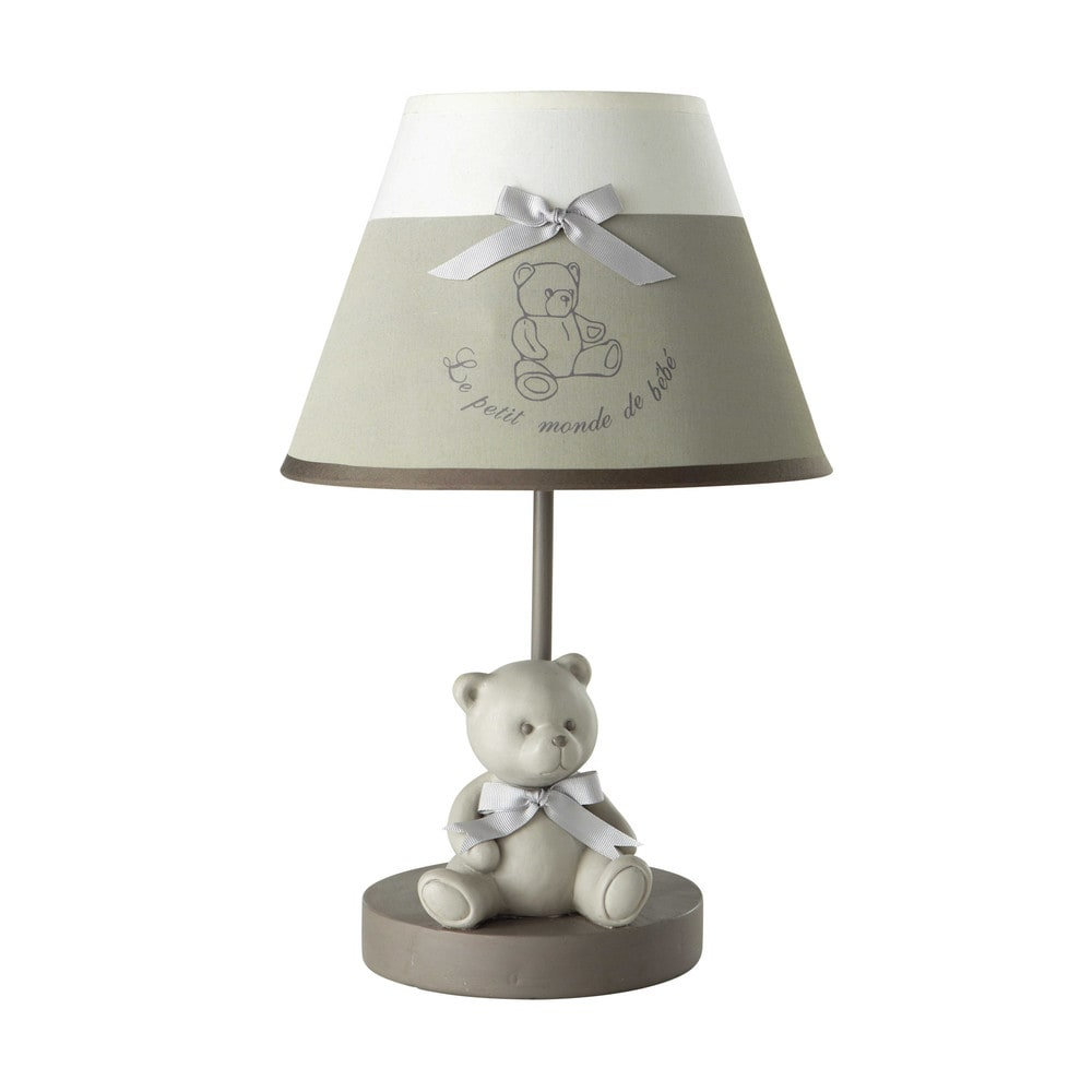 lampe de chevet en r sine et abat jour coton gris h 39 cm. Black Bedroom Furniture Sets. Home Design Ideas