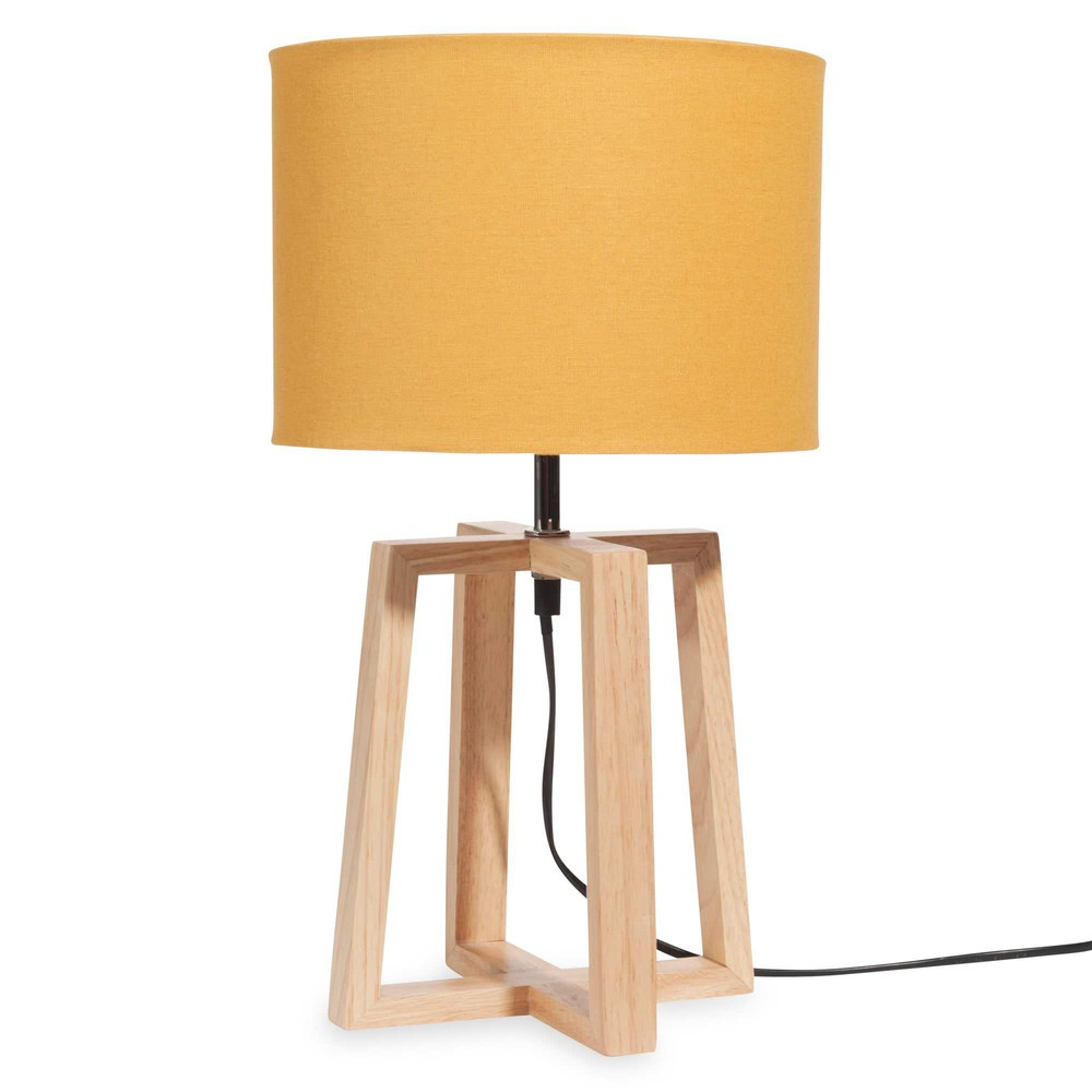 lampe en bois avec abat jour jaune h 44 cm hedmark maisons du monde. Black Bedroom Furniture Sets. Home Design Ideas