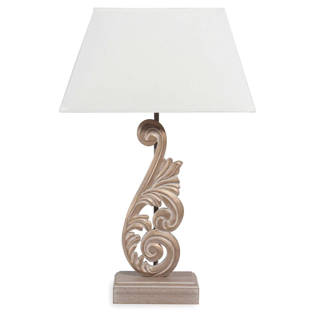 Lampe en bois dor et abat jour cru h 43 cm pascaline - Abat jour maison du monde ...