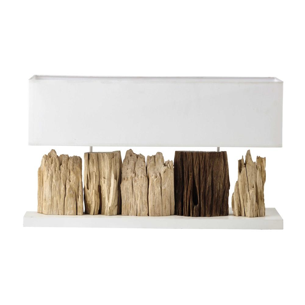 Lampe en bois et abat jour en coton blanc h 46 cm pranburi for Lampe bois flotte maison du monde