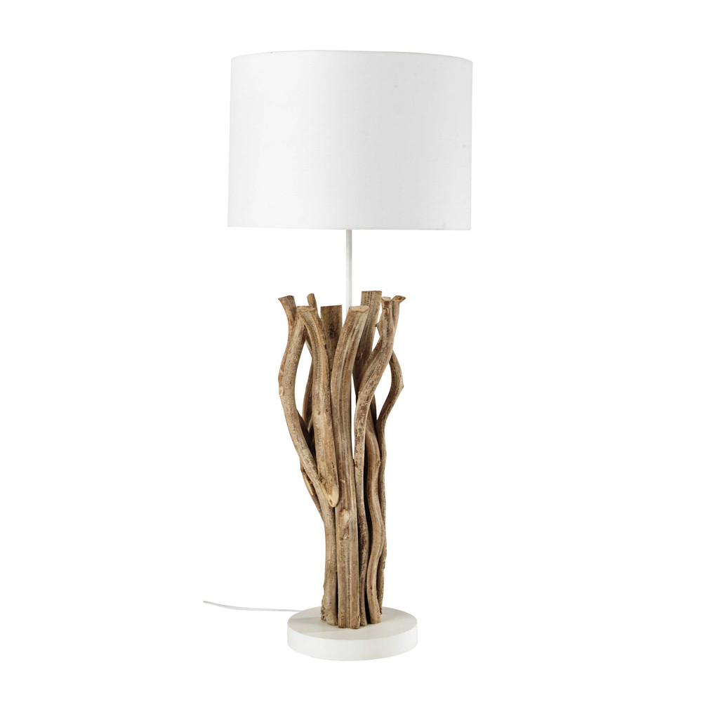 lampe en bois et abat jour en tissu blanc h 90 cm islande maisons du monde. Black Bedroom Furniture Sets. Home Design Ideas