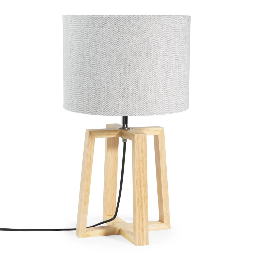Lampe En Bois Et Tissu Gris H 44 Cm Hedmark Maisons Du Monde