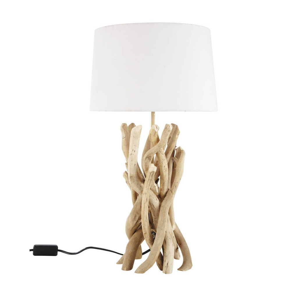 lampe en bois flott et abat jour en coton h 55 cm nirvana. Black Bedroom Furniture Sets. Home Design Ideas