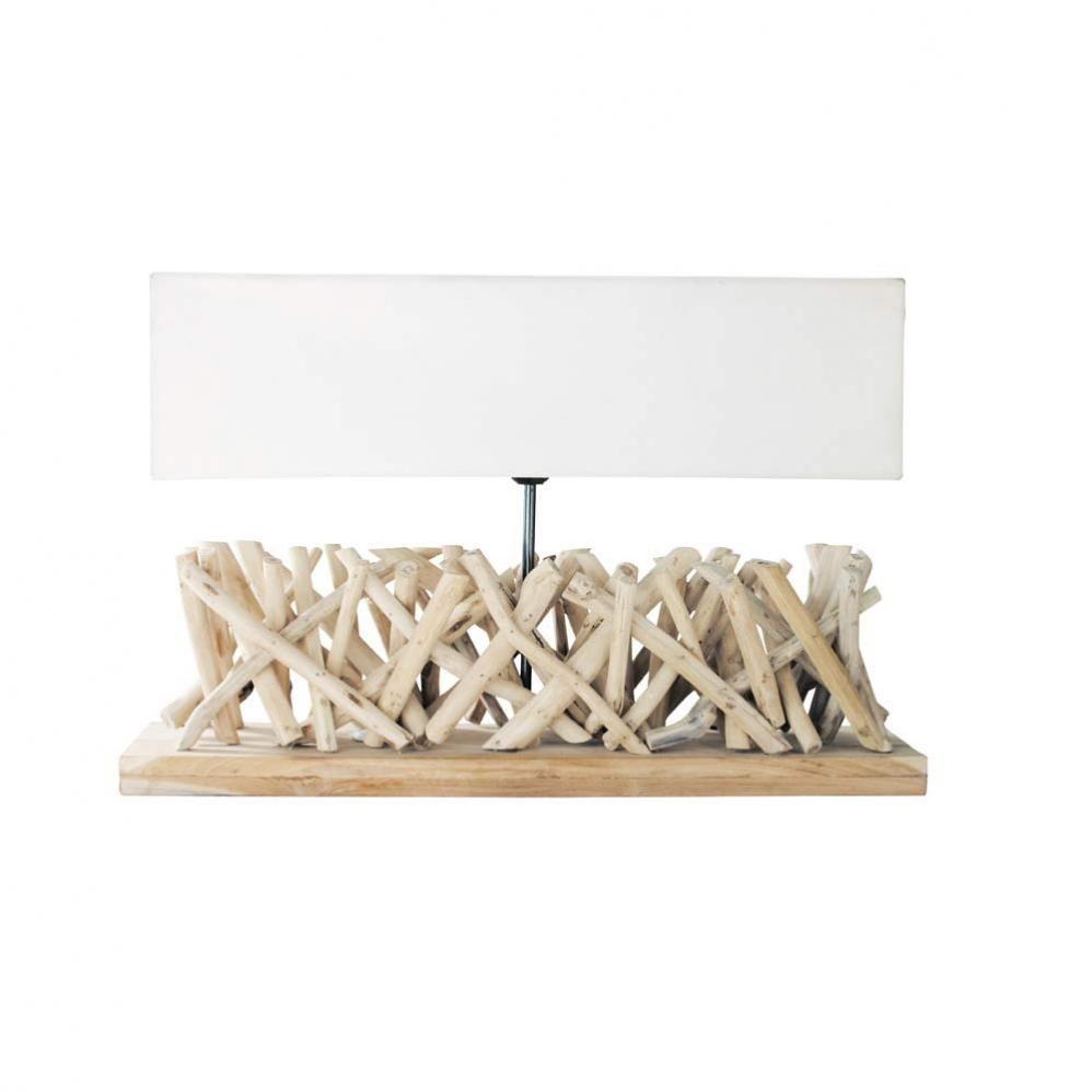 Lampe En Bois Flotte Et Abat Jour En Tissu H 16 Cm Fjord Maisons
