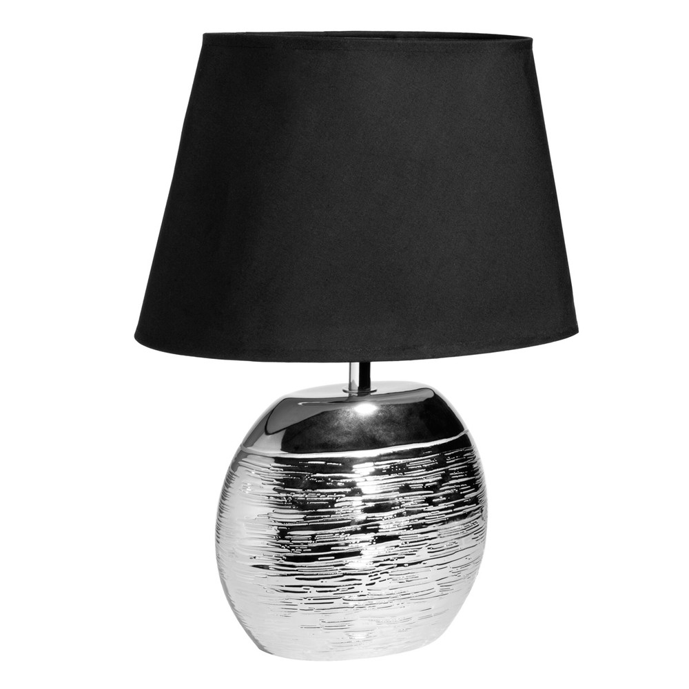 lampe en c ramique argent e abat jour noir saturne maisons du monde. Black Bedroom Furniture Sets. Home Design Ideas