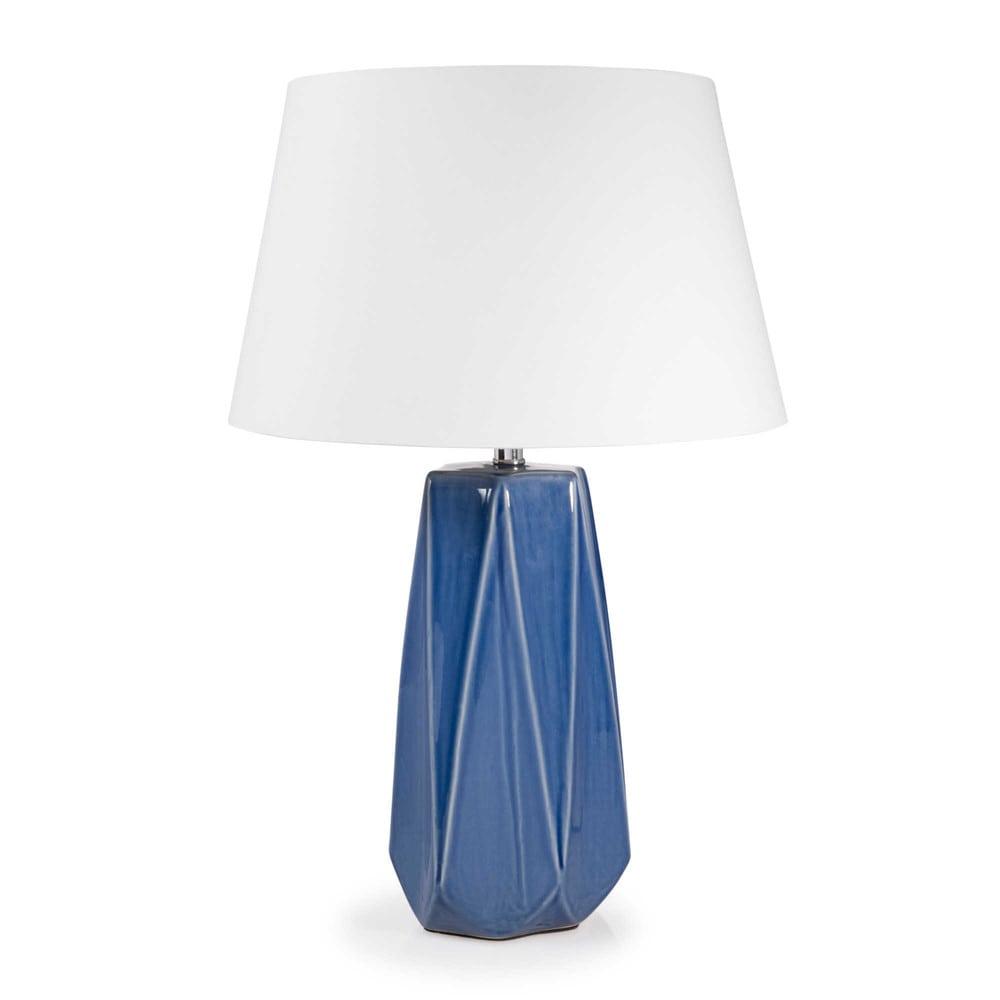 lampe en c ramique bleue h 52 cm marina maisons du monde. Black Bedroom Furniture Sets. Home Design Ideas