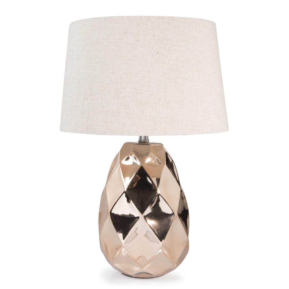 lampe en c ramique cuivr h 43 cm pineapple copper. Black Bedroom Furniture Sets. Home Design Ideas