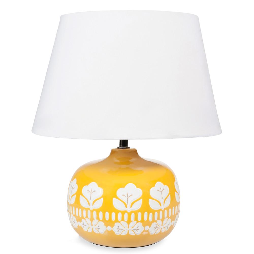 lampe en c ramique jaune h 40 cm vintage maisons du monde. Black Bedroom Furniture Sets. Home Design Ideas