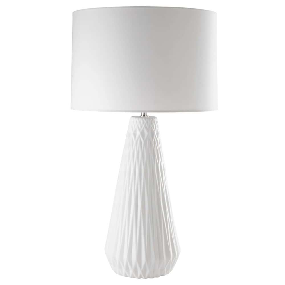 lampe en c ramique mat et coton blanc nordik maisons du monde. Black Bedroom Furniture Sets. Home Design Ideas