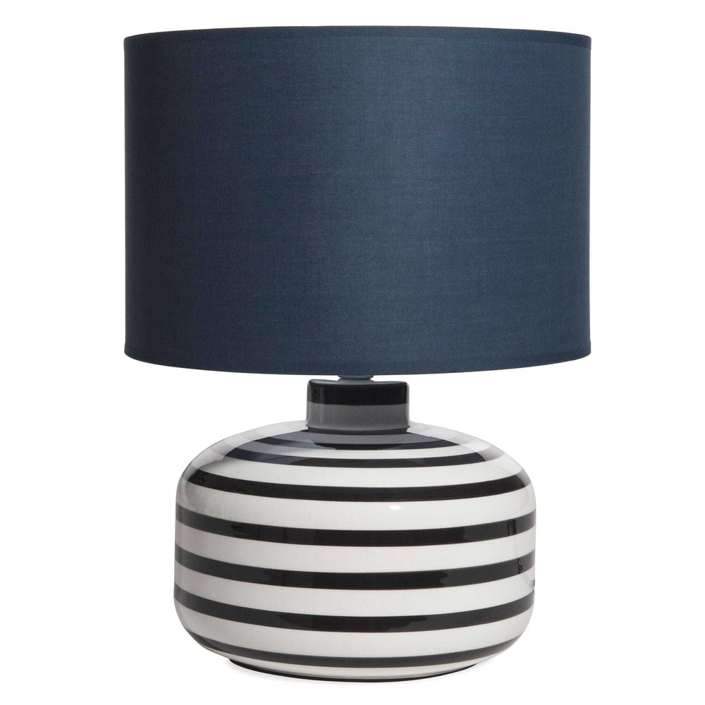 lampe en c ramique ray e abat jour bleu marine maisons. Black Bedroom Furniture Sets. Home Design Ideas
