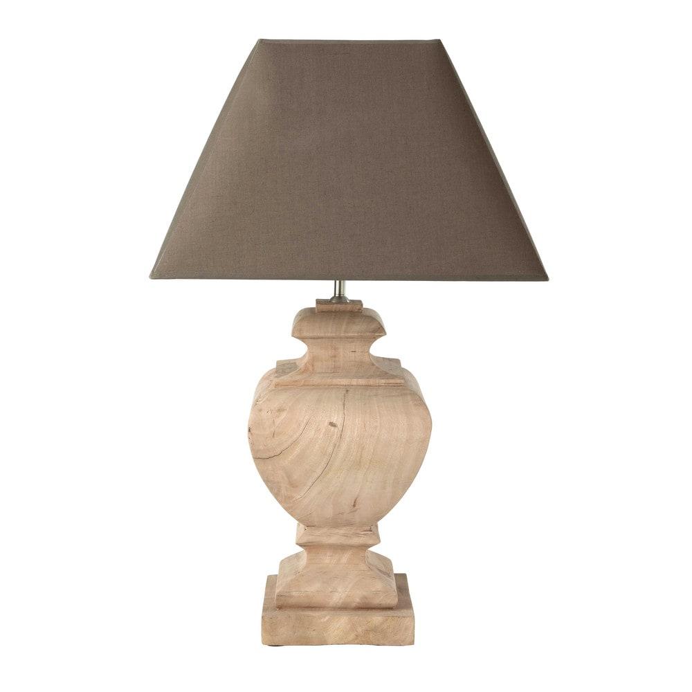 Lampe en manguier et abat jour en coton taupe h 80 cm richelieu maisons du - Lampe maisons du monde ...