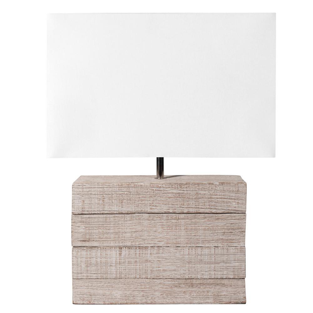 lampe en manguier et abat jour en tissu h 32 cm lagon. Black Bedroom Furniture Sets. Home Design Ideas