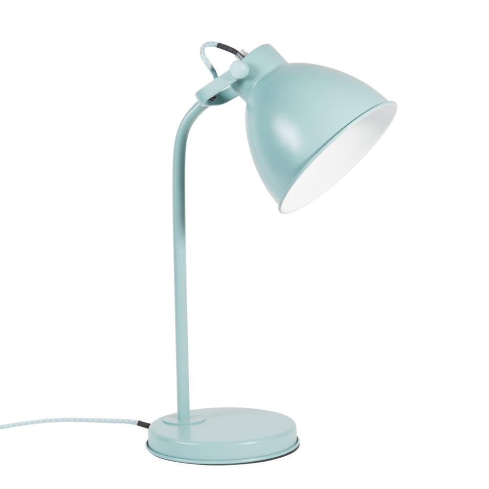 Lampe en m tal bleu h 45 cm colin maisons du monde for Lampe de bureau maison du monde