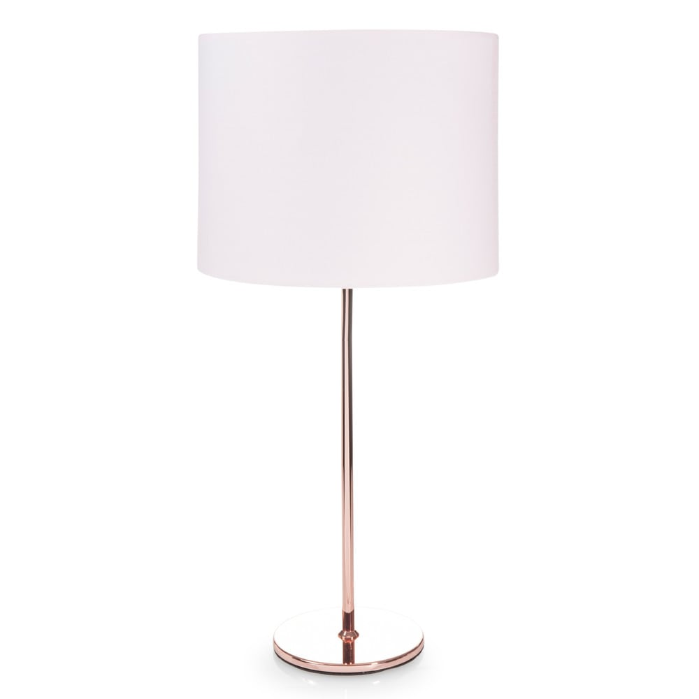 lampe en m tal cuivr et abat jour rose h 56 cm isa copper. Black Bedroom Furniture Sets. Home Design Ideas