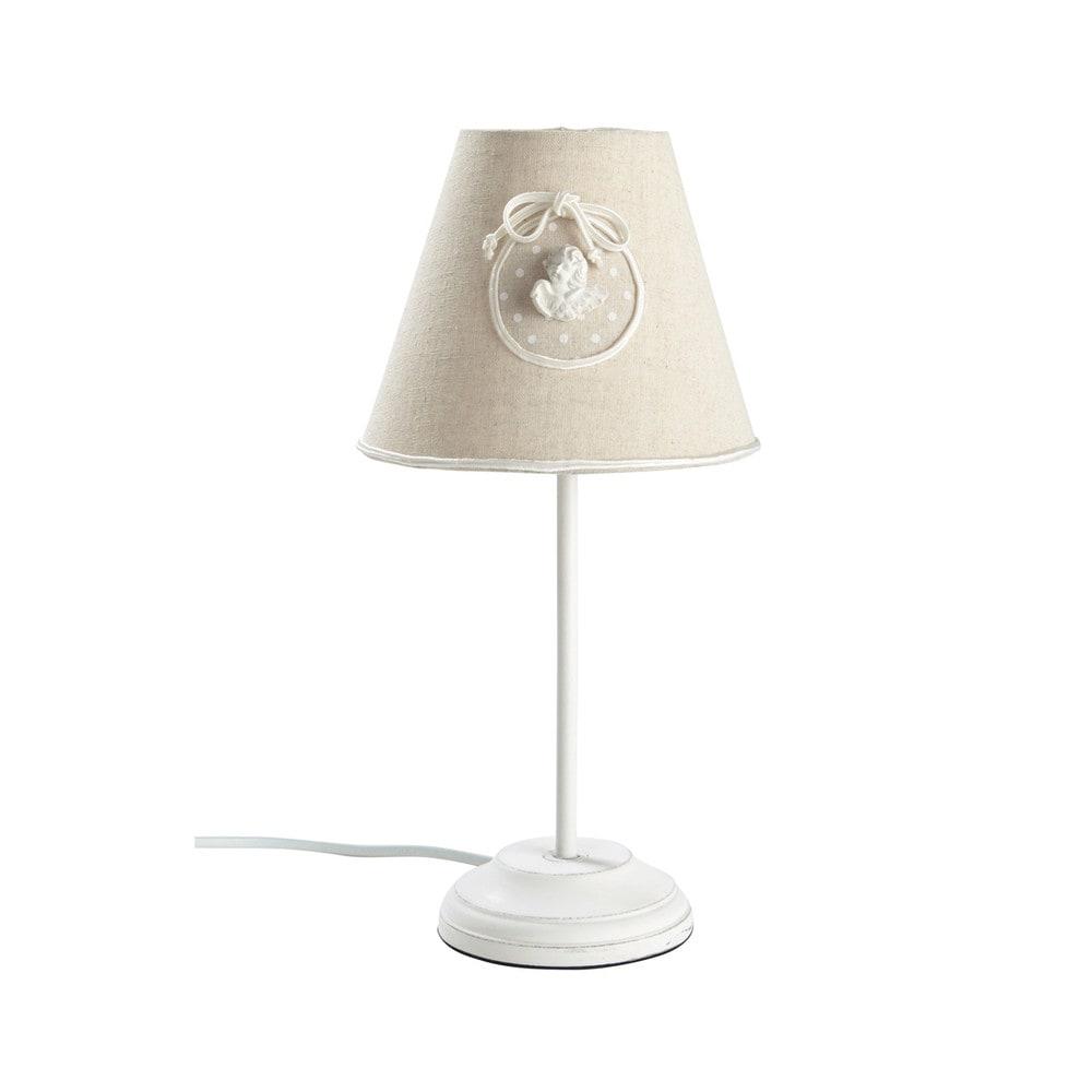 lampe en m tal et abat jour en coton beige h 34 cm angel maisons du monde. Black Bedroom Furniture Sets. Home Design Ideas