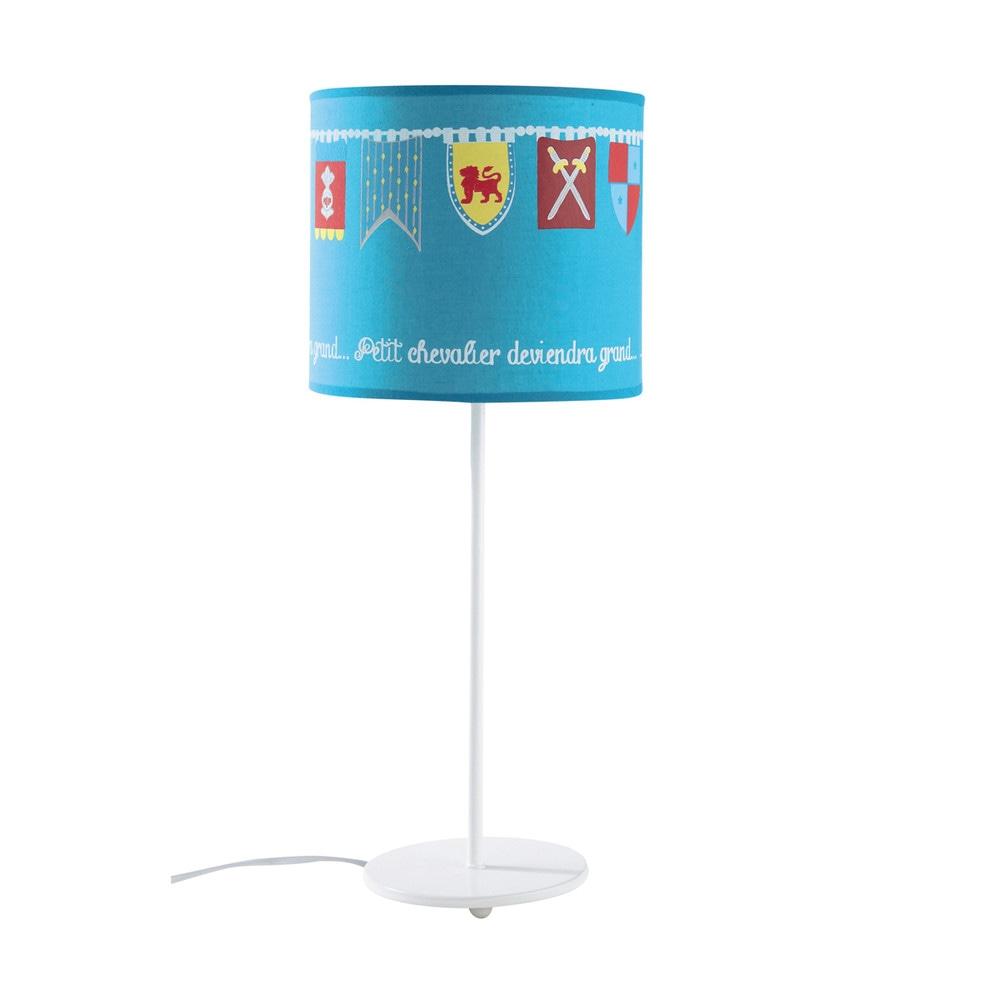 Lampe en m tal et abat jour en coton bleue h 49 cm for Maison du monde lampe sur pied