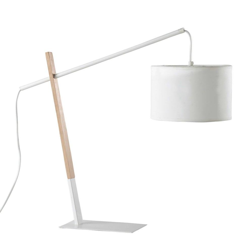 Lampe en m tal et bois blanche h 46 cm midtown maisons for Lampe de bureau blanche