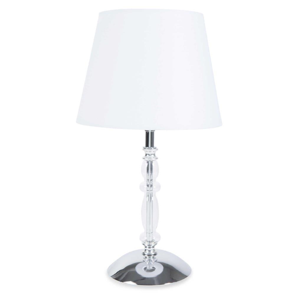 lampe en m tal et tissu blanc h 35 cm vera maisons du monde. Black Bedroom Furniture Sets. Home Design Ideas