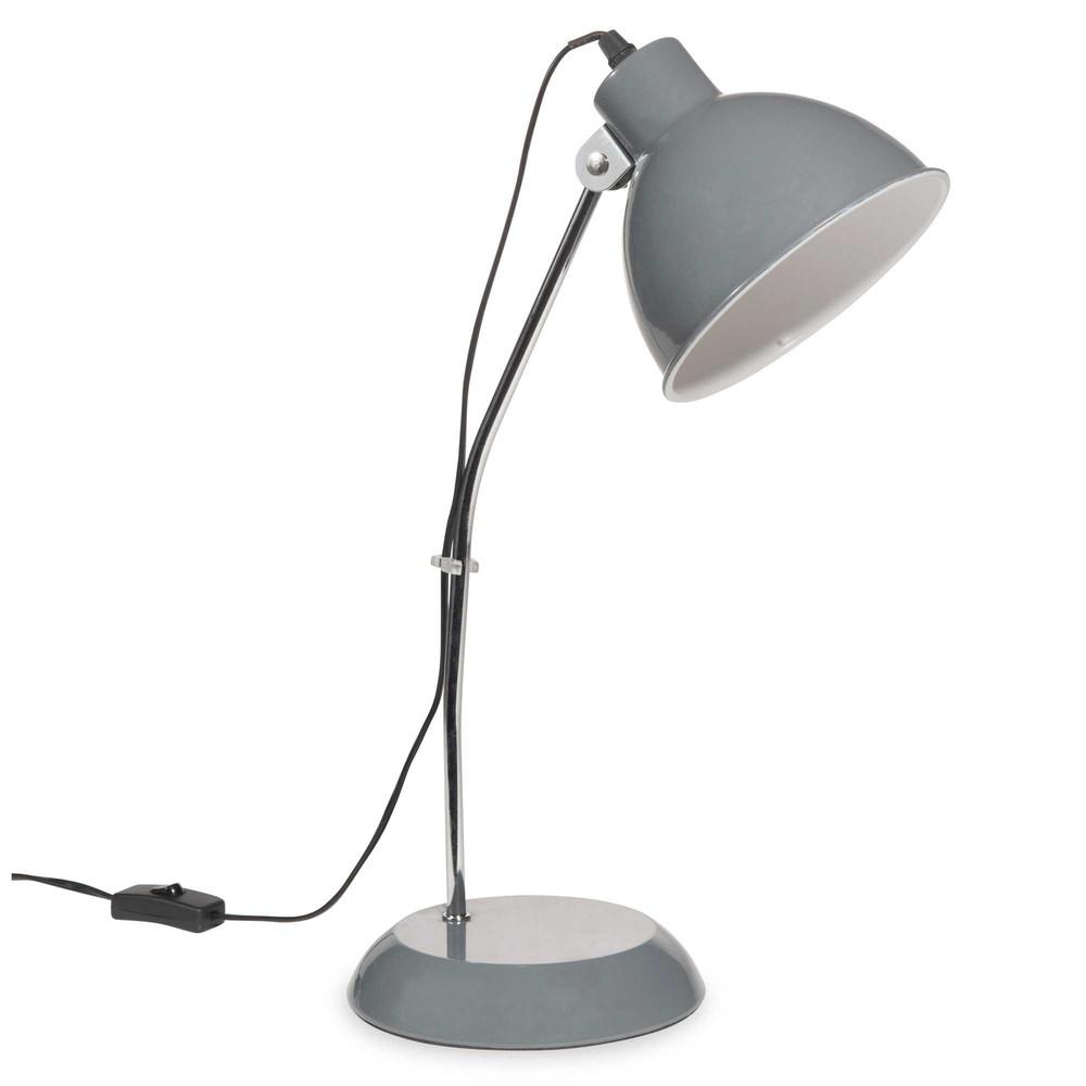 lampe en m tal gris h 45 cm mike maisons du monde. Black Bedroom Furniture Sets. Home Design Ideas